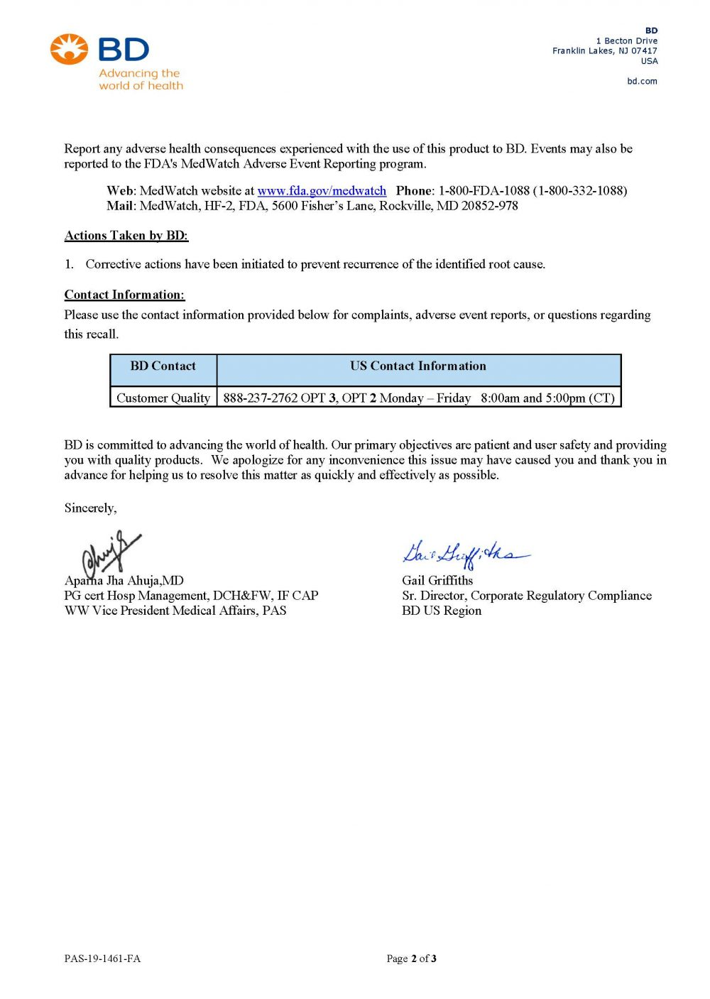 BD Vacutainer Recall Page 2