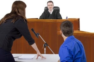 a lawyer and her client arguing their case in court